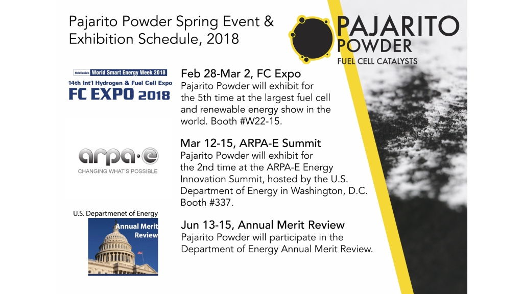 Pajarito Powder attends FC Expo, ARPA-E and AMR