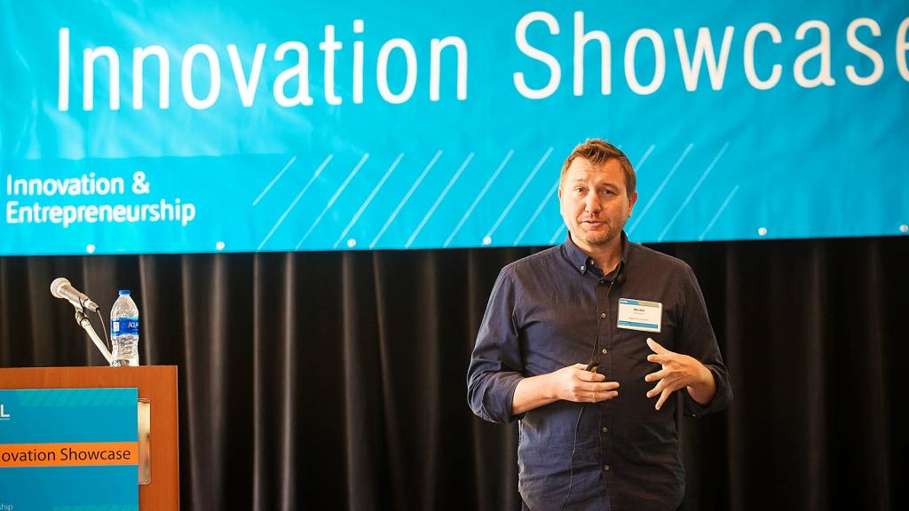 Webb Johnson presenting at NREL Innovation Showcase